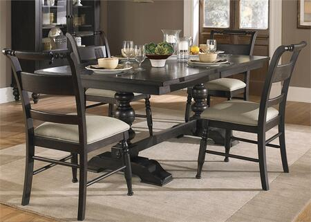 Whitney Collection 661-CD-5TRS 5-Piece Dining Room Set with Trestle Dining Table and 4 Side Chairs in Black Cherry