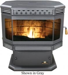 "SP2000PS 30"" Wide Tahoe 45 000 BTU Automatic Fuel Feed Pellet Stove in Black with 70 lbs Hopper 5 Heat Settings and Door in: Standard Black Door Gold"