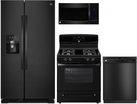 4-Piece Black Kitchen Package with 51119 Side-by-Side Refrigerator  74039 Freestanding Gas Range  80329 Over-the-Range Microwave and 17389 Full