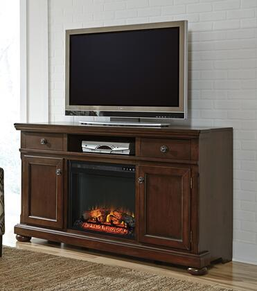 Porter Collection W697-132F01 2-Piece Set with TV Stand and W100-01 Fireplace Insert in Rustic