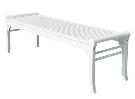 V1608 Bradley Eco-Friendly 5-Foot Backless Outdoor White Wood Garden Bench