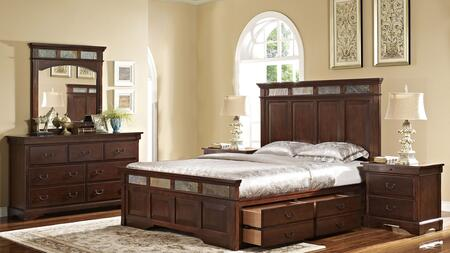 00455310320337338dmnn 5 Piece Bedroom Set With Queen Madera Storage Bed  Dresser  Mirror And Two Nightstands  In
