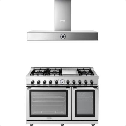 2-Piece Stainless Steel Kitchen Package with RN482SPSS 48 inch  Freestanding Dual Fuel Range and HN481AWS 48 inch  Wall Mount Stainless Steel and White Glass Hood