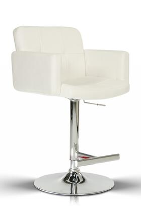 VGCBT1040-WHT Modrest 24 Barstool with Chrome Plated Adjustable Pneumatic Base  Swivel Top and Eco-Leather Upholstery in