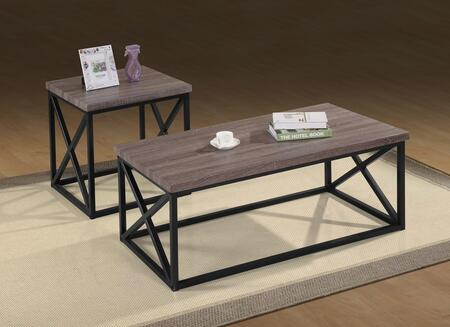 Orion Collection 1728 3 PC Living Room Table Set with Rectangular Cocktail Table  2 Square End Tables  Techmetric Veneer Tops  Geometric Base and Tubular Steel