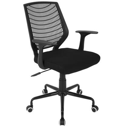 OFC-NET BK+BK Network Contemporary Height Adjustable Office Chair with Swivel in