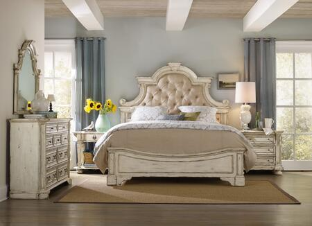 5403-90866KBONNDD 4-Piece Sanctuary Collection Bedroom Set with California King Size Bed + Oval Nightstand + Nightstand + Dresser  in Vintage Chalky