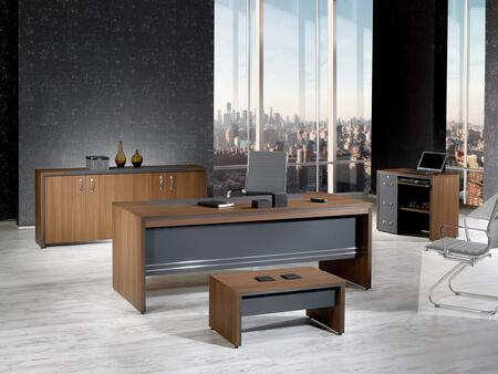 Arya Collection ARYA-63MOG-S 4 PC Desk Set with Desk  Coffee Table  Credenza  Low Wall Cabinet  Wire Management and Laminated Wood Surfaces in Milano Oak and