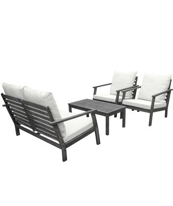Renaissance Collection V1808SET1 4-Piece Outdoor Patio Hand-scraped Wood Sofa Set with Bench  Table and 2