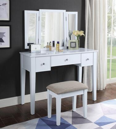 Severus Collection 90362 3 PC Vanity Set with 3 Drawers  Tapered Legs  Metal Hardware  Tan Fabric Seat Stool  Tri-Fold Mirror  Rectangular Shaped Vanity Desk