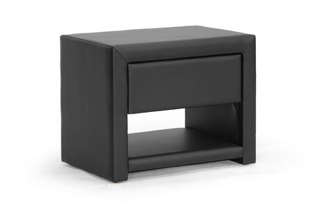 BBT3092-BLACK-NS Baxton Studio Massey Upholstered Modern Nightstand  In