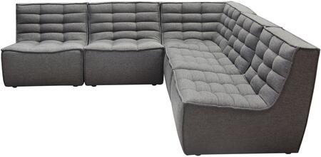Marshall_Collection_MARSHALL-5PC-GR_5-Piece_Corner_Modular_Sectional_with_Scooped_Seat__Fabric_Upholstery__Piped_Stitching__Grid-Tufted_Pattern_and