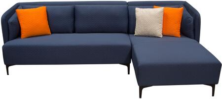 Dylan RF DYLANRF2PCSECTNB 2PC Sectional with Attached Seat & Back Cushions  Black Powder Coated Metal Leg and Hardwood Frame in Navy Blue Diamond Quilted