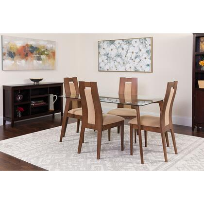 ES-129-GG Lincoln 5 Piece Walnut Wood Dining Table Set With Glass Top And Curved Slat Wood Dining Chairs - Padded Seats 39