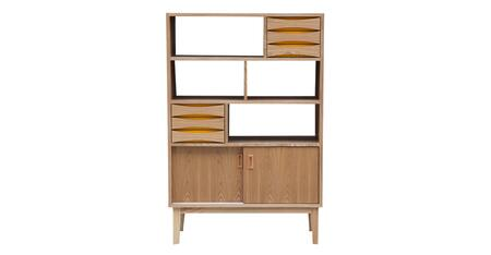 STO-BS-VODDER4T-NAT Vodder 4-Tier Upright Cabinet  Mid-Century Modern Bookcase  Natural Ash