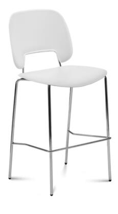 TRAFF.R.A0F.CR.PBI Traffic Stacking Chair with Chrome Frame  Foot Rest and Polypropylene Seat and Back in