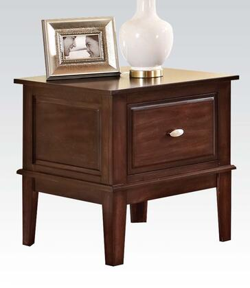 Mahir Collection 80268 24 inch  End Table with 1 Drawer  Metal Hardware  Tapered Legs  Poplar Wood and Basswood Veneer Materials in Walnut