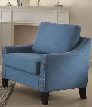 Zapata Collection 53552 33 inch  Chair with Track Arms  Nail Head Trim  Tapered Legs  Wood Frame  Pocket Coil Seating  Removable Cushions and Linen Upholstery in