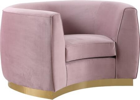 Julian 620Pink-C Chair with Velvet Upholstery  Gold Stainless Steel Base and Curved Back Design in