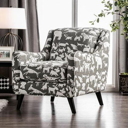 Patricia SM8171-CH-DG Animal Patterned Chair with Solid Wood Tapered Legs  Track Arms and Fabric Upholstery in Black and