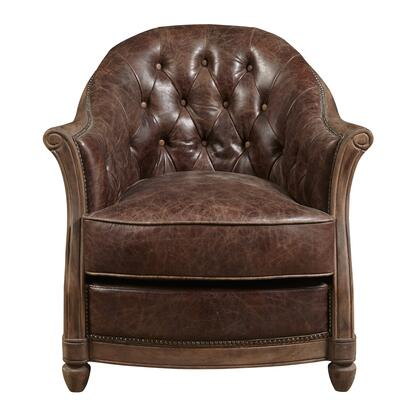 P006205 Leather Tufted Accent In Brown