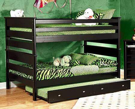 3534524-4547-T Full Over Full Bunk Bed with Trundle Unit Black