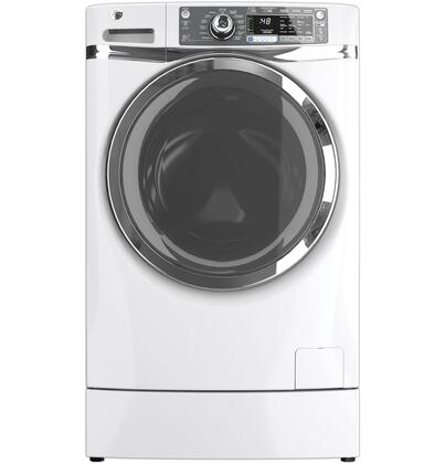 GE - RightHeight 4.8 Cu. Ft. 13-Cycle High-Efficiency Steam Front-Loading Washer - White GFWR4800FWW