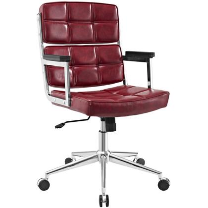 Portray Collection EEI-2685-RED Office Chair with Adjustable Height  Swivel Seat  Five Dual-Wheel Nylon Casters  Chrome Aluminum Frame and Vinyl Upholstery in