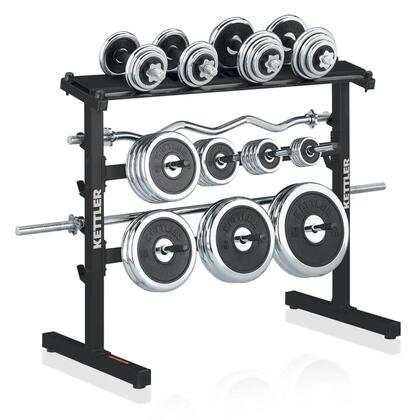 7499-300 Dumbbell and Barbell Rack with Powder Coated Steel Frame Chip Resistant Chrome Plated Weight Plate