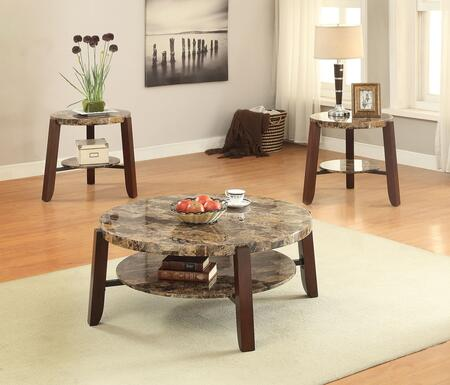 Lilith 80957CE 3 PC Living Room Table Set with Coffee Table + 2 End Tables in Cherry