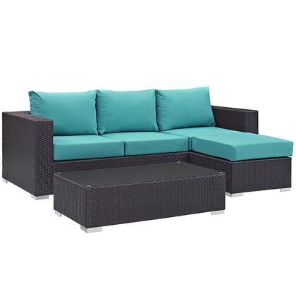 Convene Collection EEI-2178-EXP-TRQ-SET 3-Piece Outdoor Patio Sofa Set with Coffee Table  Ottoman and Sofa in