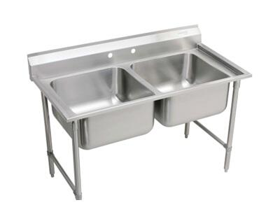 RNSF8238LR2  Floor Mount Double Bowl Food Service 16 Gauge 304 Stainless Steel Rectangular Rigidbilt Scullery Sink with Left/Right Drain Boards: Stainless