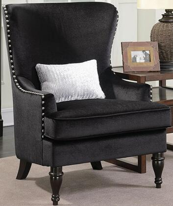 Manuela CM6145BK-CH Chair with Turned Legs  Nail Head Accents and Flannelette Fabric Upholstery in