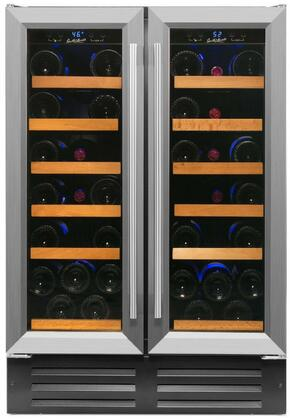RW116DR 24 inch  Dual Zone Side-by-Side Wine Cooler with 40 Wine Bottle Capacity  Low Profile Wood Accented Wine Shelf  Double Paned UV Shielded Glass Door with