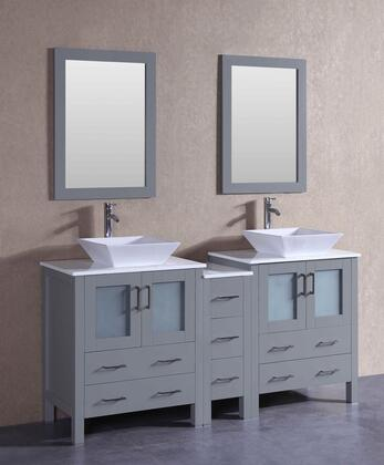AGR230S1S 72 inch  Double Vanity with Phoenix Stone Top  Flared Square White Ceramic Vessel Sink  F-S02 Faucet  Mirror  4 Doors and 7 Drawers in
