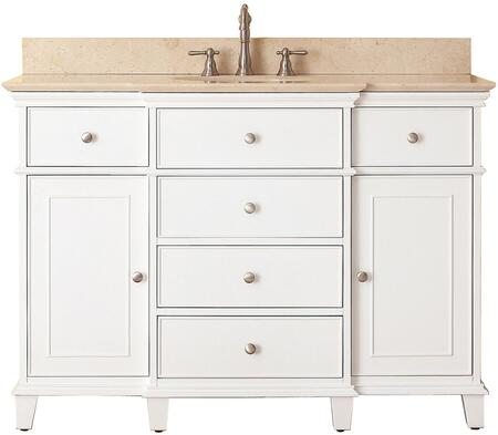 Windsor Collection WINDSOR-VS48-WT-B 48 inch  Sink Vanity with Galala Beige Marble Top  Undermount Sink  2 Soft-Close Doors  2 Interior Shelves and 6 Drawers in