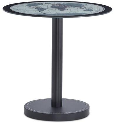 Boli Collection 81740 20 inch  End Table with Glass Top  World Map Pattern  Round Leather Base and Single Metal Tube Stand in Black