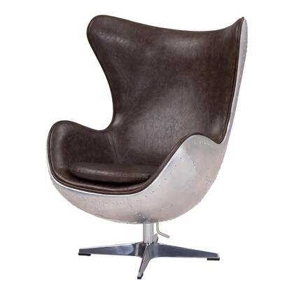 Axis Collection 633043P-D2-AL Rocker Chair with Aluminum Frame  360 Degree Swivel and PU Upholstery in Distressed