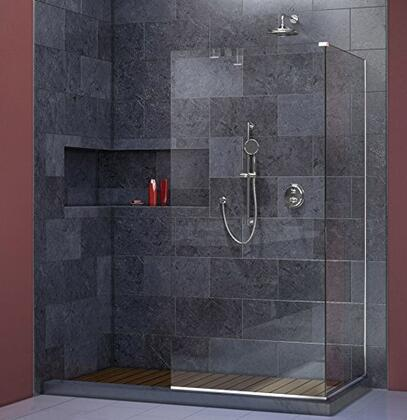 SHDR-3234343-01 Linea Frameless Shower Door. Two Attached Glass Panels: 34 in. x 72 in. Chrome
