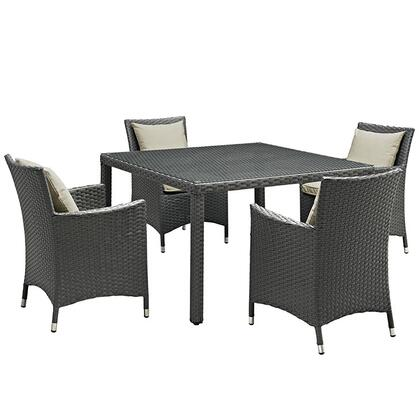 Sojourn Collection EEI-2244-CHC-BEI-SET 5-Piece Outdoor Patio Sunbrella Dining Set with 4 Armchairs and Dining Table in Antique Canvas