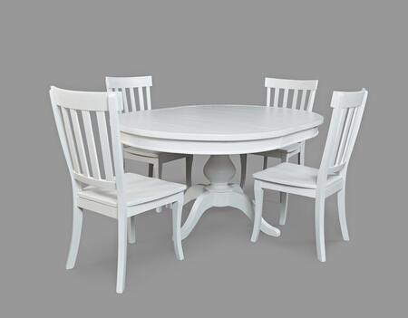 Madaket Collection 64766TBKT5SET 5 PC Dining Room Set with Round To Oval Dining Table + 4 Dining Chairs in Posh White