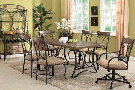 Kiele Collection 71150SET 8 PC Dining Room Set with Dining Table + 4 Side Chairs + 2 Arm Chairs + Baker's Rack in Oak and Antique Black