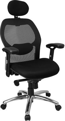 LF-W42-HR-GG High Back Super Mesh Office Chair with Black Fabric Seat and Knee Tilt
