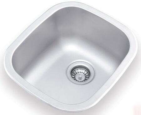UN345 15 inch  Wide Undermount/Drop-in Single Bowl Sink - 18 Gauge: Stainless