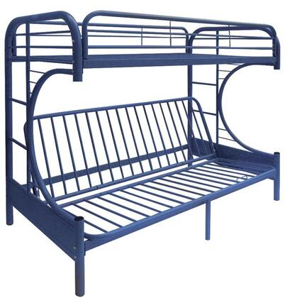 Eclipse Collection 02091WNV Twin/Full/Futon Bunk Bed with Full Length Guard Rail  Metal Tube Slats Included and Built-In Side Ladders in Blue