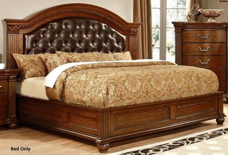 Grandom Collection CM7735CK-BED California King Size Platform Bed with Button Tufted Leatherette Upholstery  Solid Wood and Wood Veneers Construction in Cherry