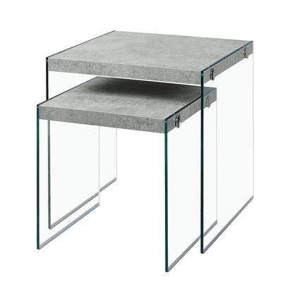 I 3231 2-Piece Nesting Table Set with Tempered Glass Base and  Wood Top in Grey