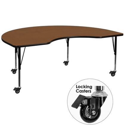 XU-A4896-KIDNY-OAK-H-P-CAS-GG Mobile 48''W x 96''L Kidney Shaped Activity Table with 1.25'' Thick High Pressure Oak Laminate Top and Height Adjustable