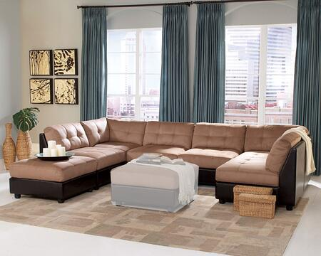 Claude Collection 5510012SECOTT 7-Piece Sectional Sofa with 2x Corner Chairs  4x Armless Chairs and Ottoman in