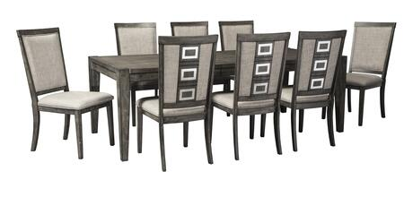 Chadoni D624ET8C 9-Piece Dining Room Set with Rectangular Extension Dining Room Table and 8 Dining Room Side Chairs in